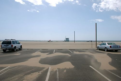 Left - no cars, just sand